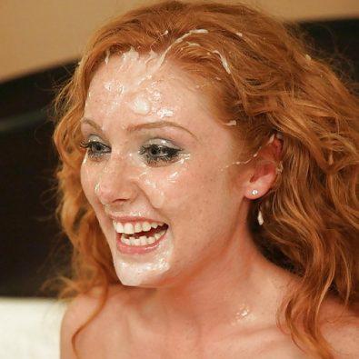 Rothaarige mit Sperma im Gesicht